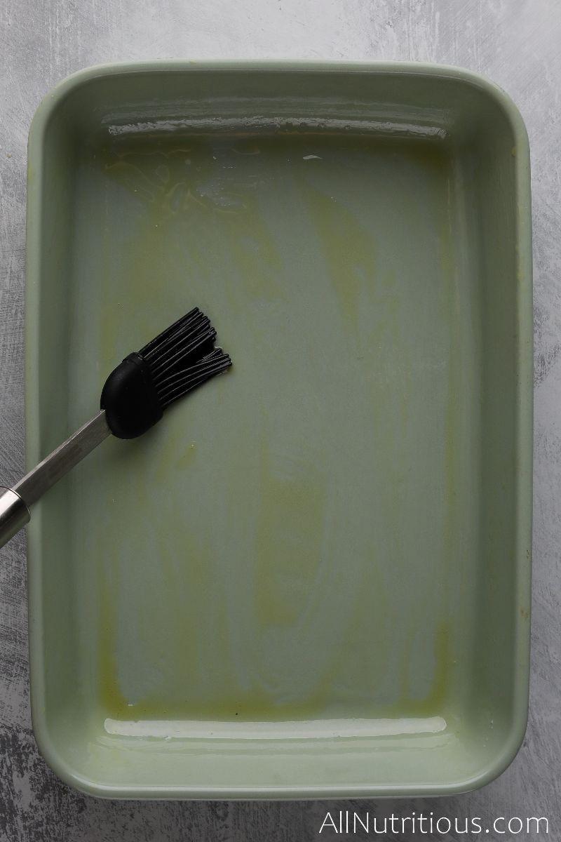 olive oil in baking dish