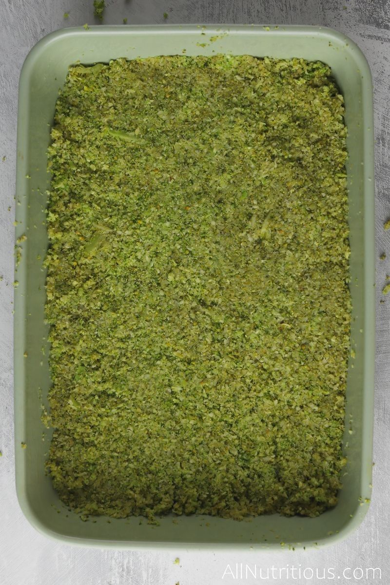 steamed broccoli in baking dish