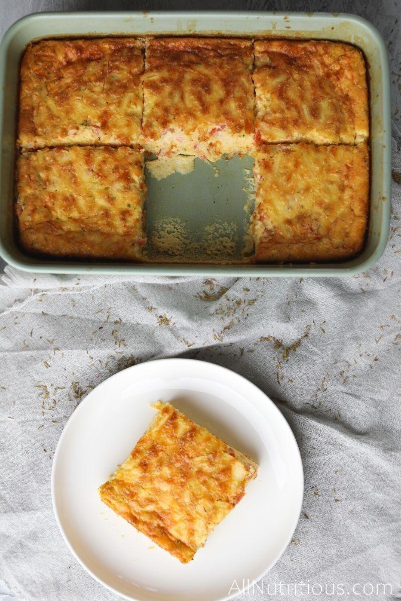 slice of keto quiche on plate