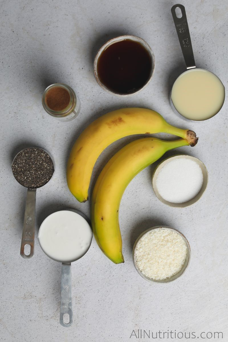 bananas and ingredients in measuring cups