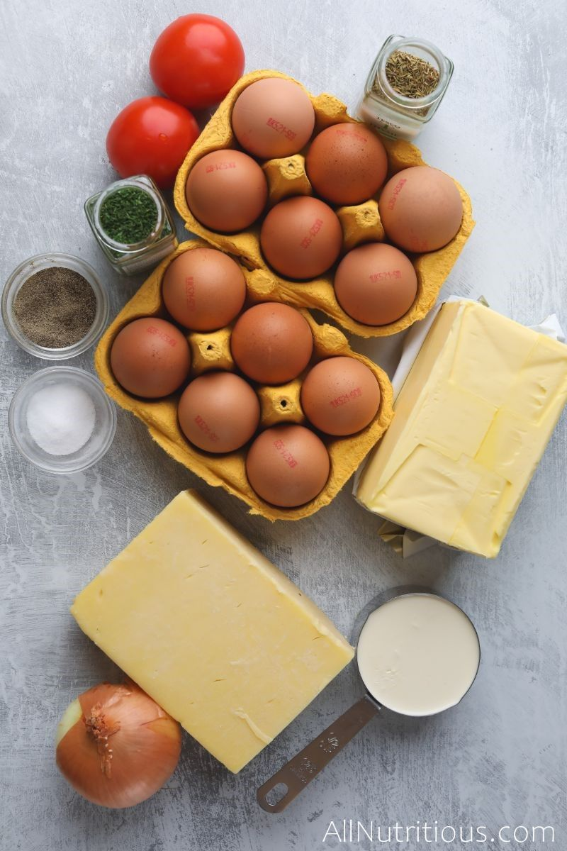 egg cartons, cheese, spices, and onion