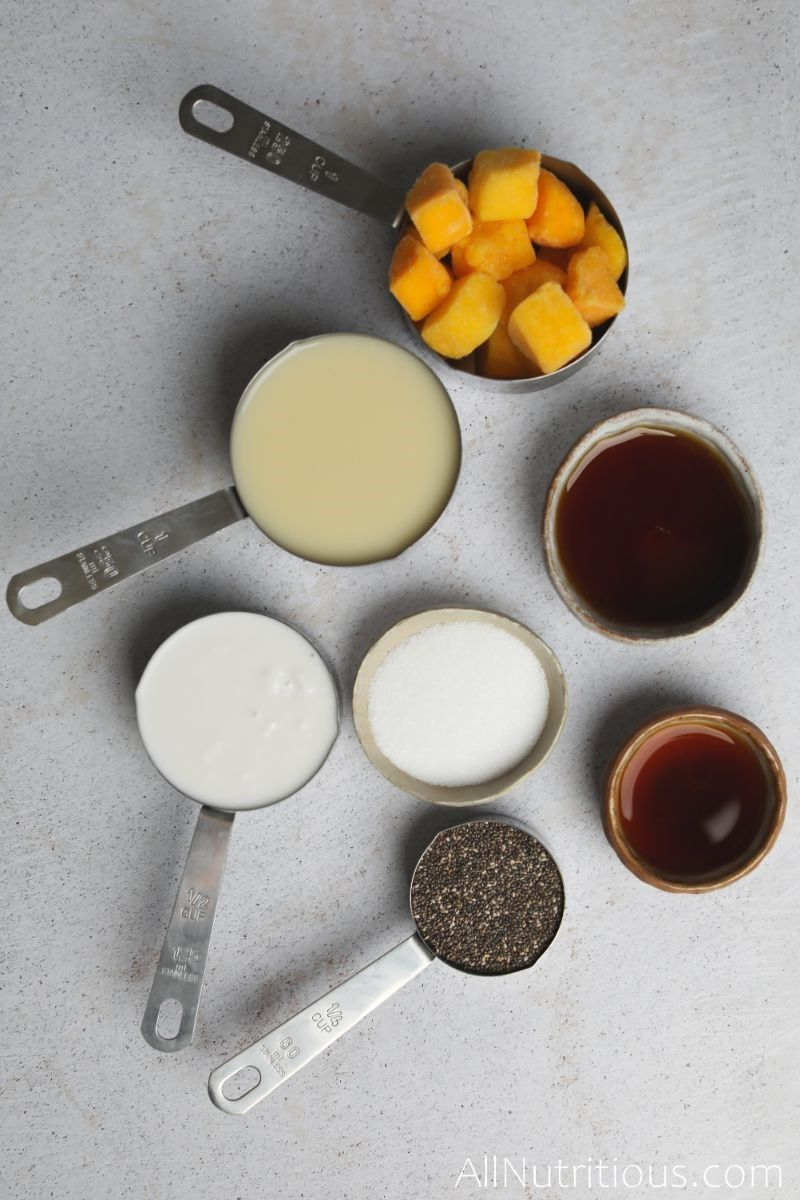 mangos and ingredients in measuring cups