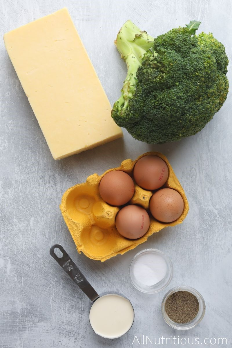 broccoli, cheese, egg carton, spices