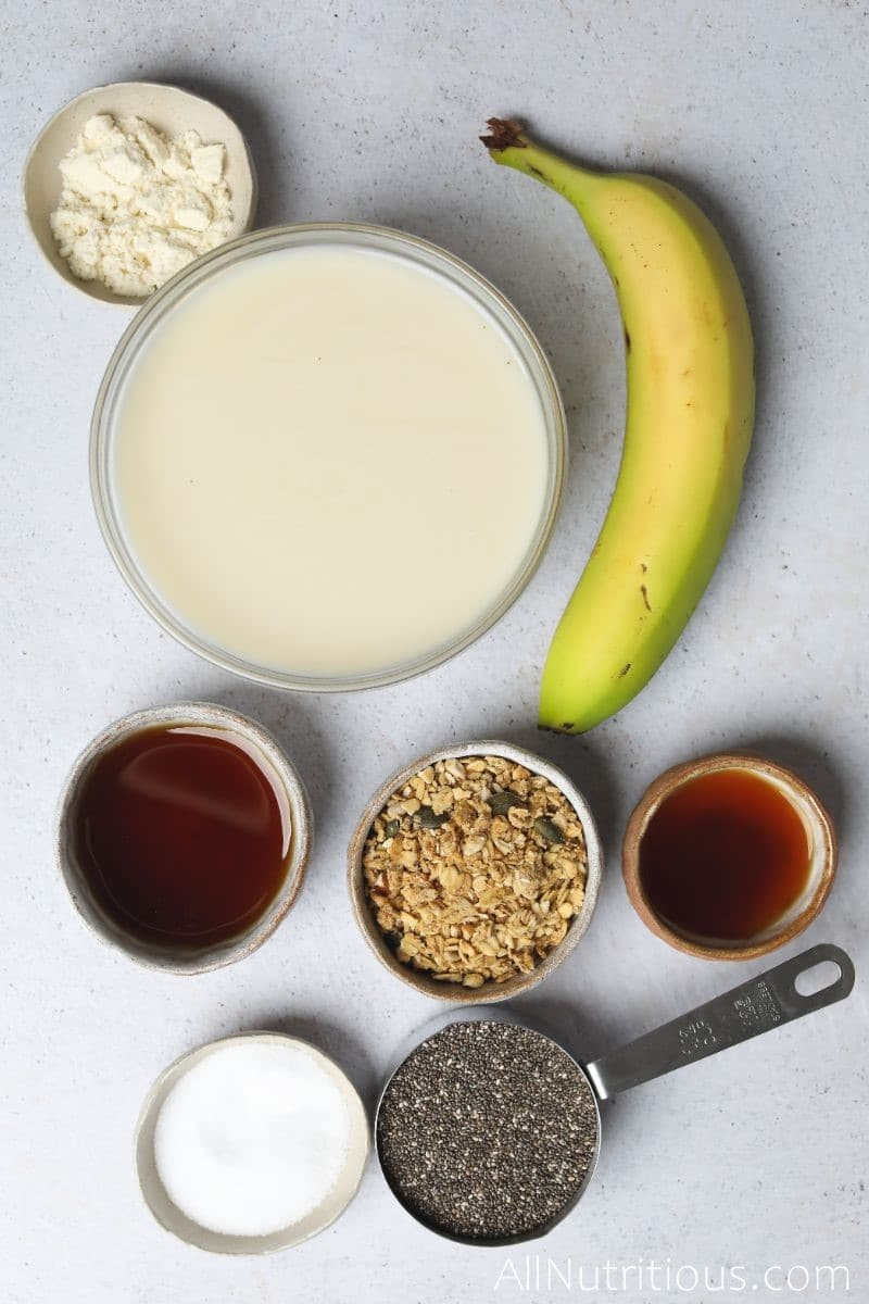 ingredients for chia pudding