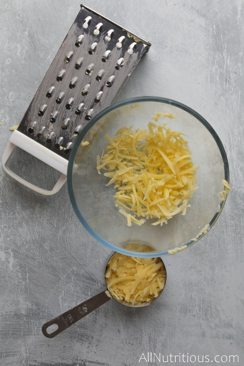 bowl of shredded cheese