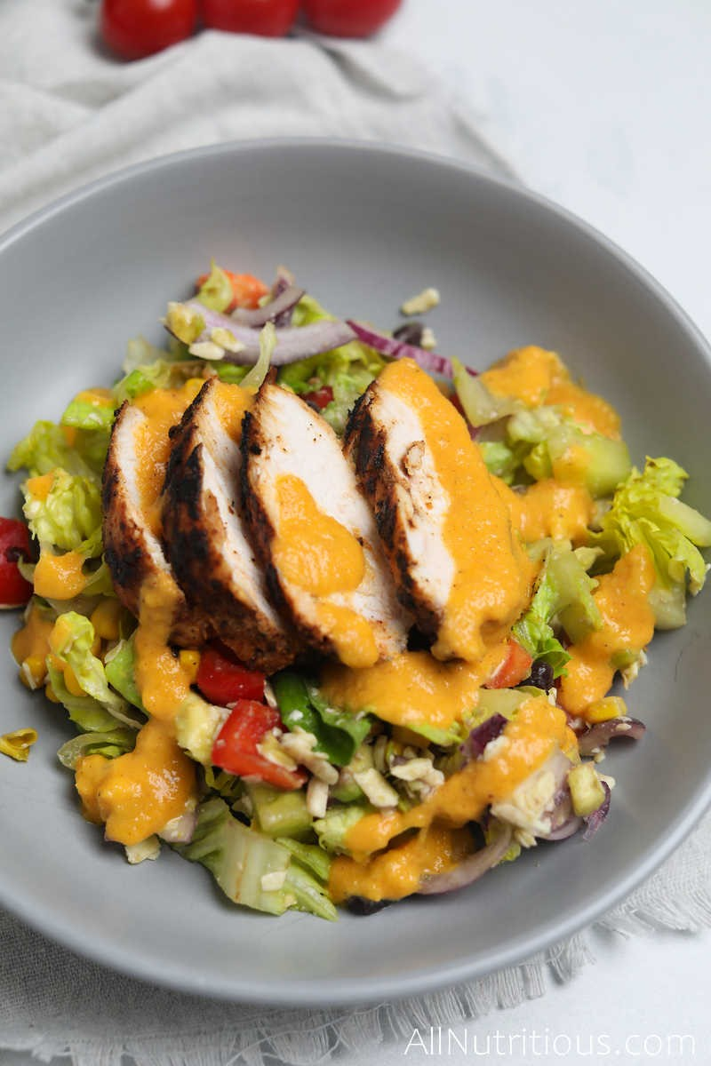 plate of chipotle chicken salad