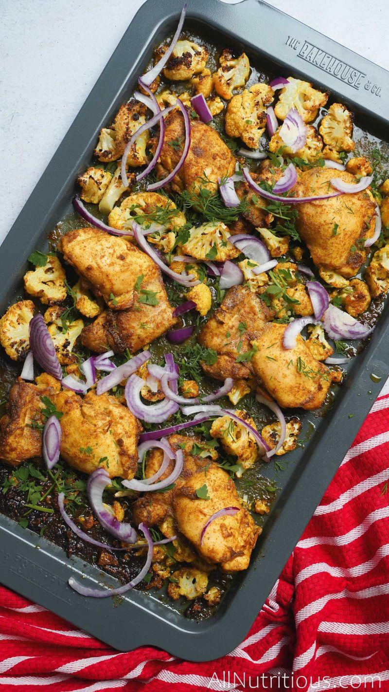 sheet pan of cauliflower and chicken