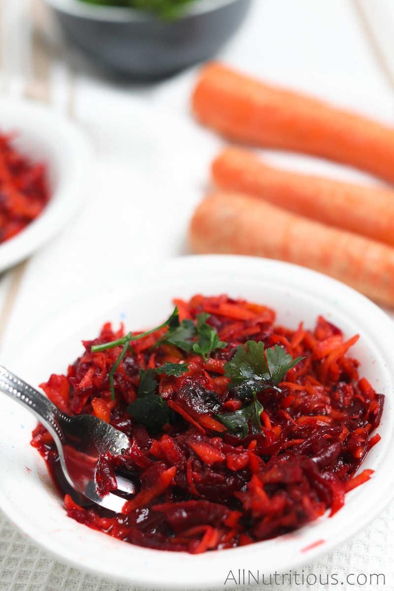 forkful of beet carrot salad