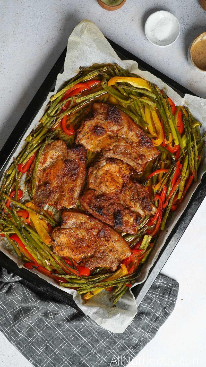 cooked sheet pan pork chops