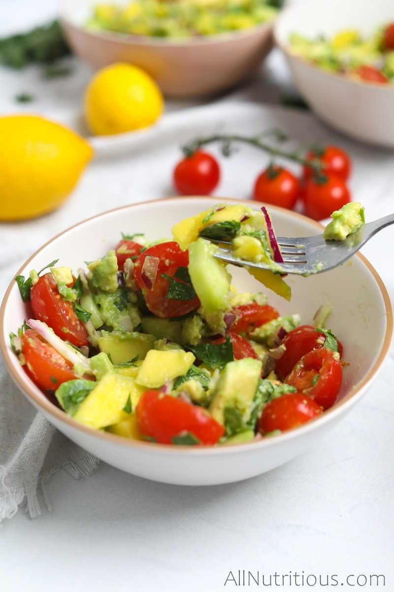 forkful of mango salad