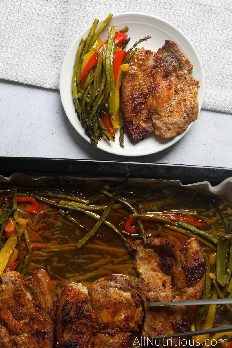 plateful on pork chops and veggies