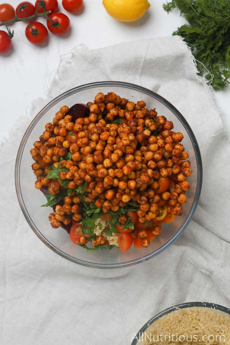 chickpeas and veggies in bowl