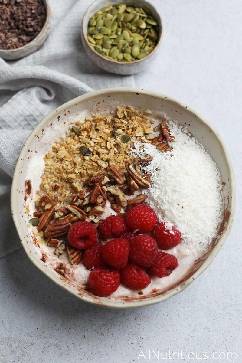 chocolate pecan yogurt bowl