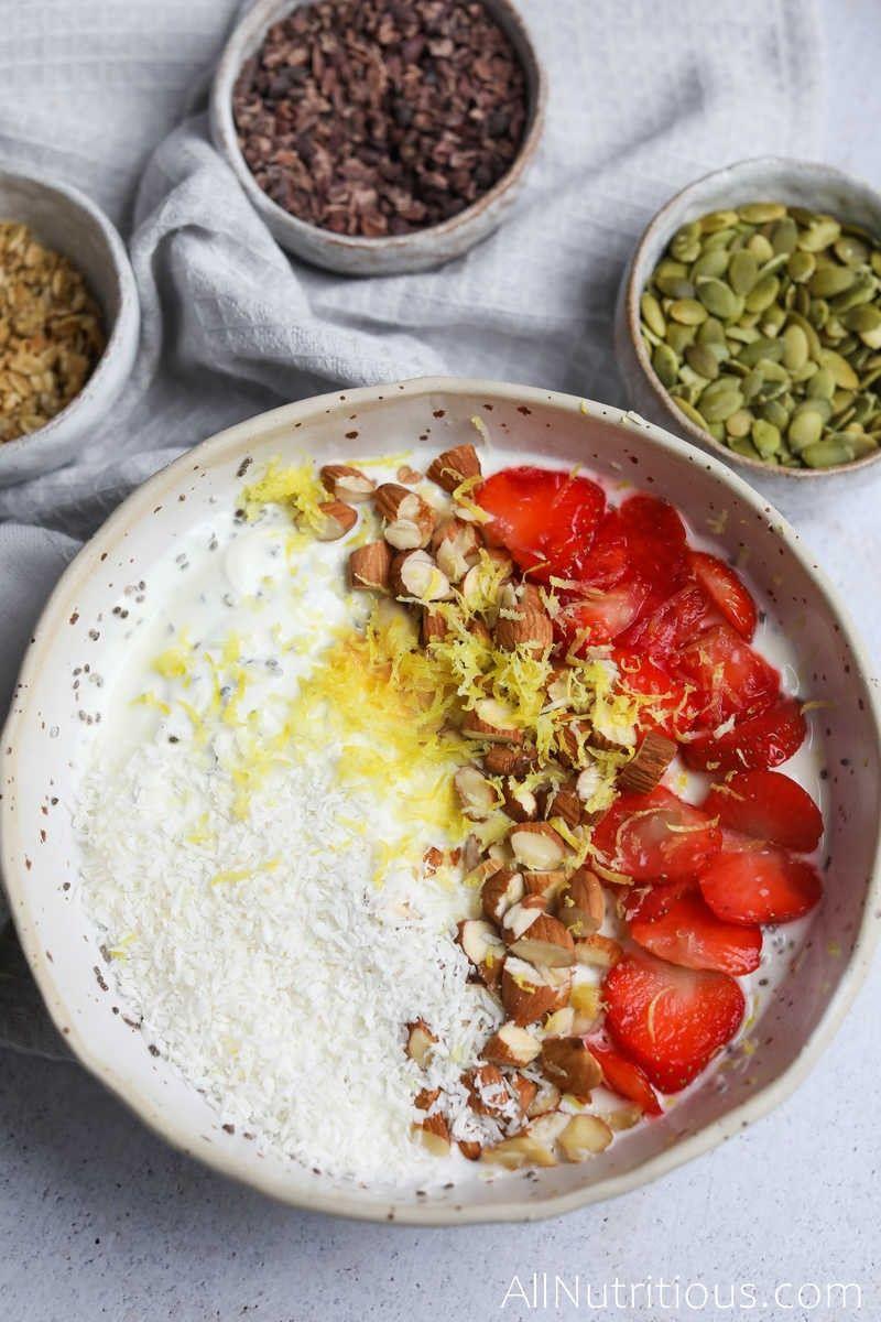 yogurt bowl with strawberry and lemon