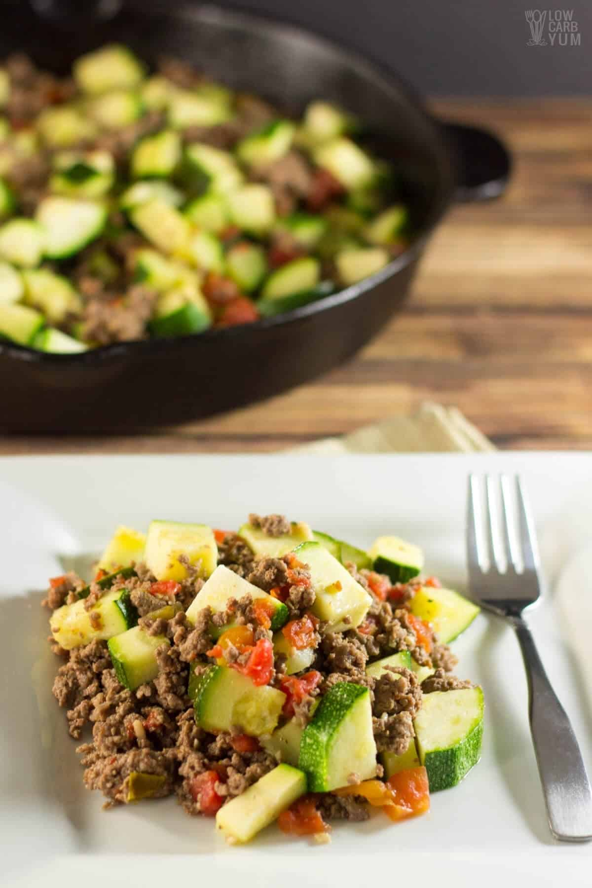 Mexican Zucchini & Ground Beef Skillet