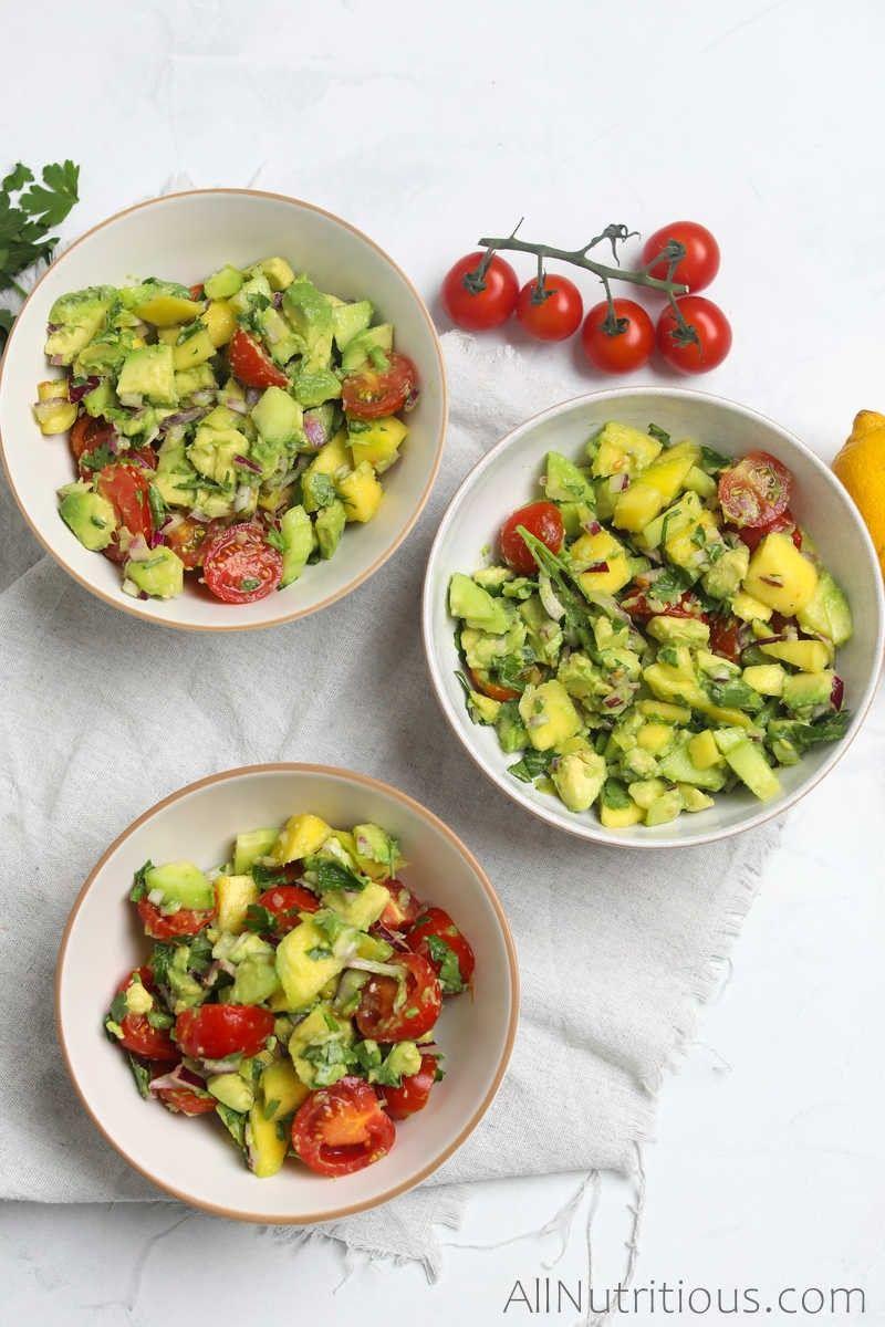 three bowls of mango salad