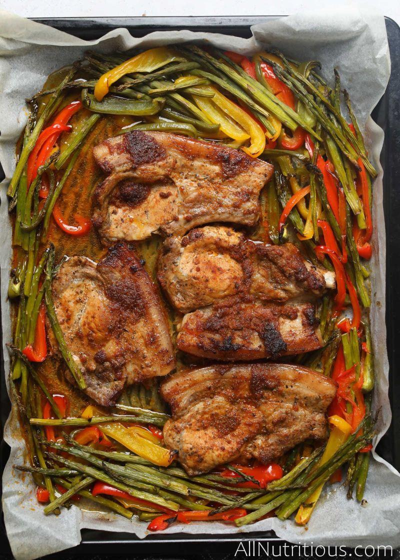 pan with pork chops and veggies