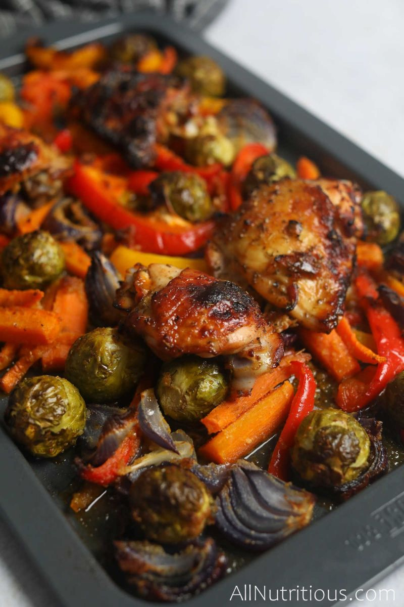 sheet pan with chicken thighs and veggies