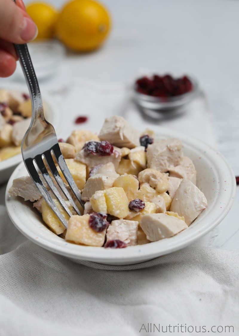 forkful of chicken salad