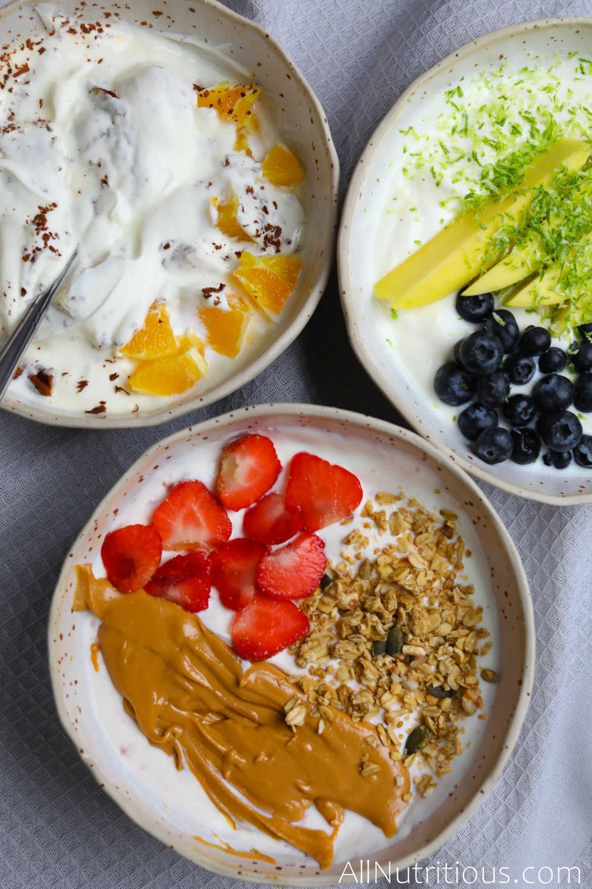 bowls with variety of toppings