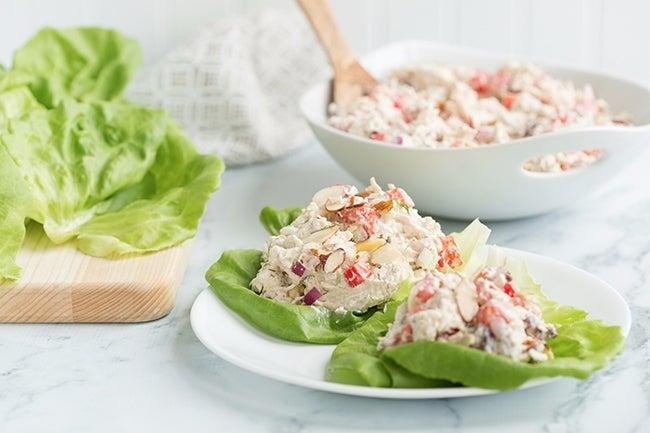 Greek Chicken Salad Lettuce Wraps