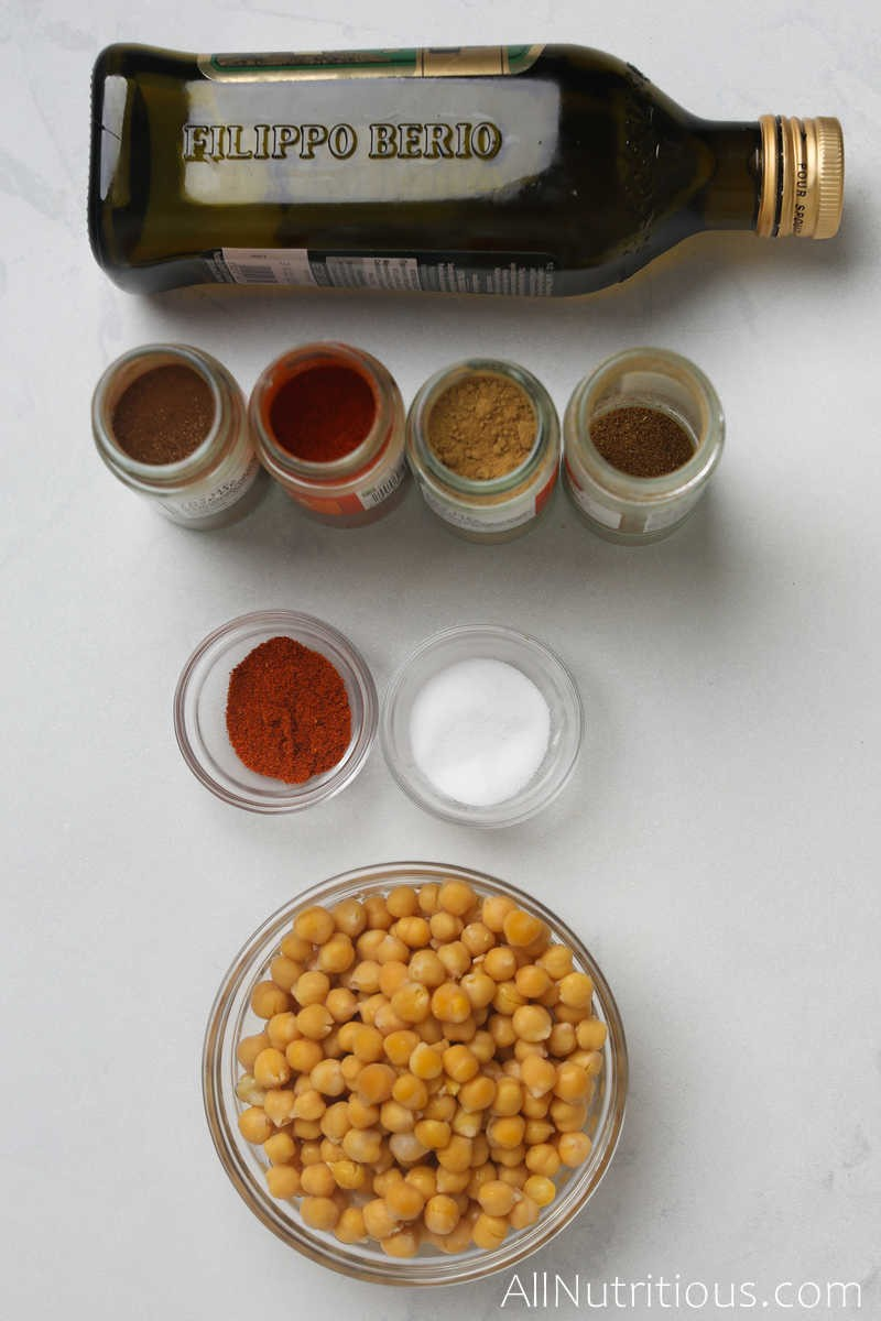 spice jars, oil and chickpeas