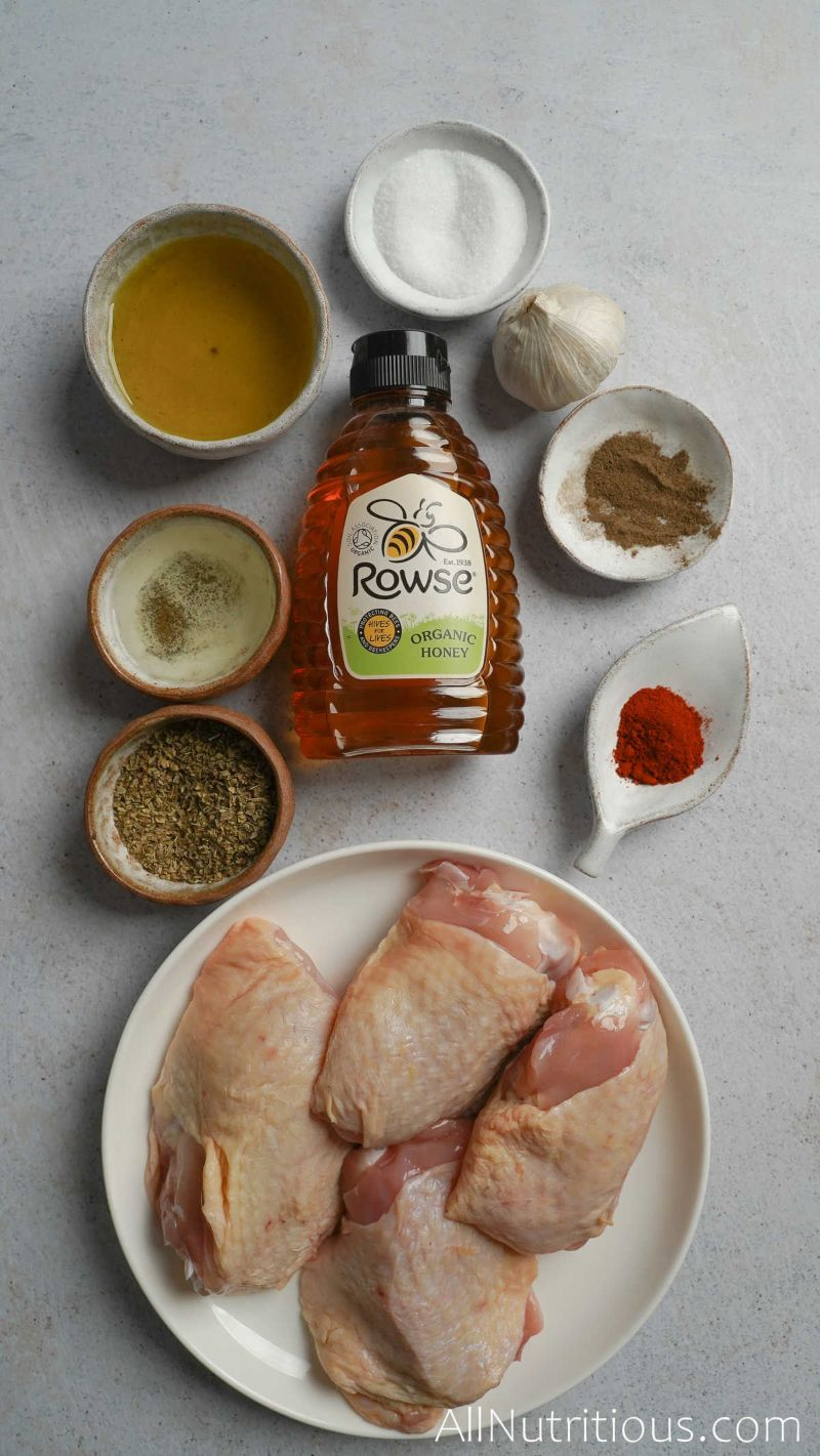 raw chicken thighs and spices