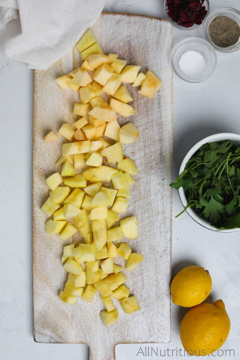 chopped apples on cutting board