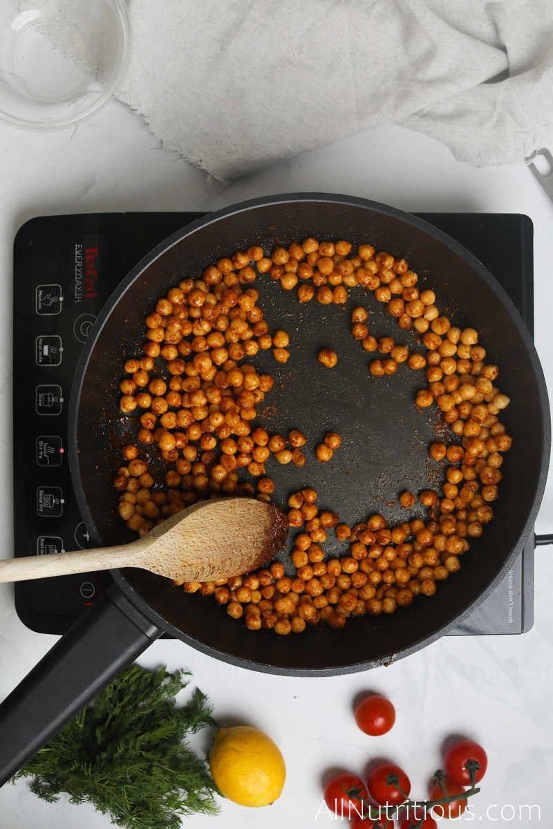 chickpeas and spices in pan