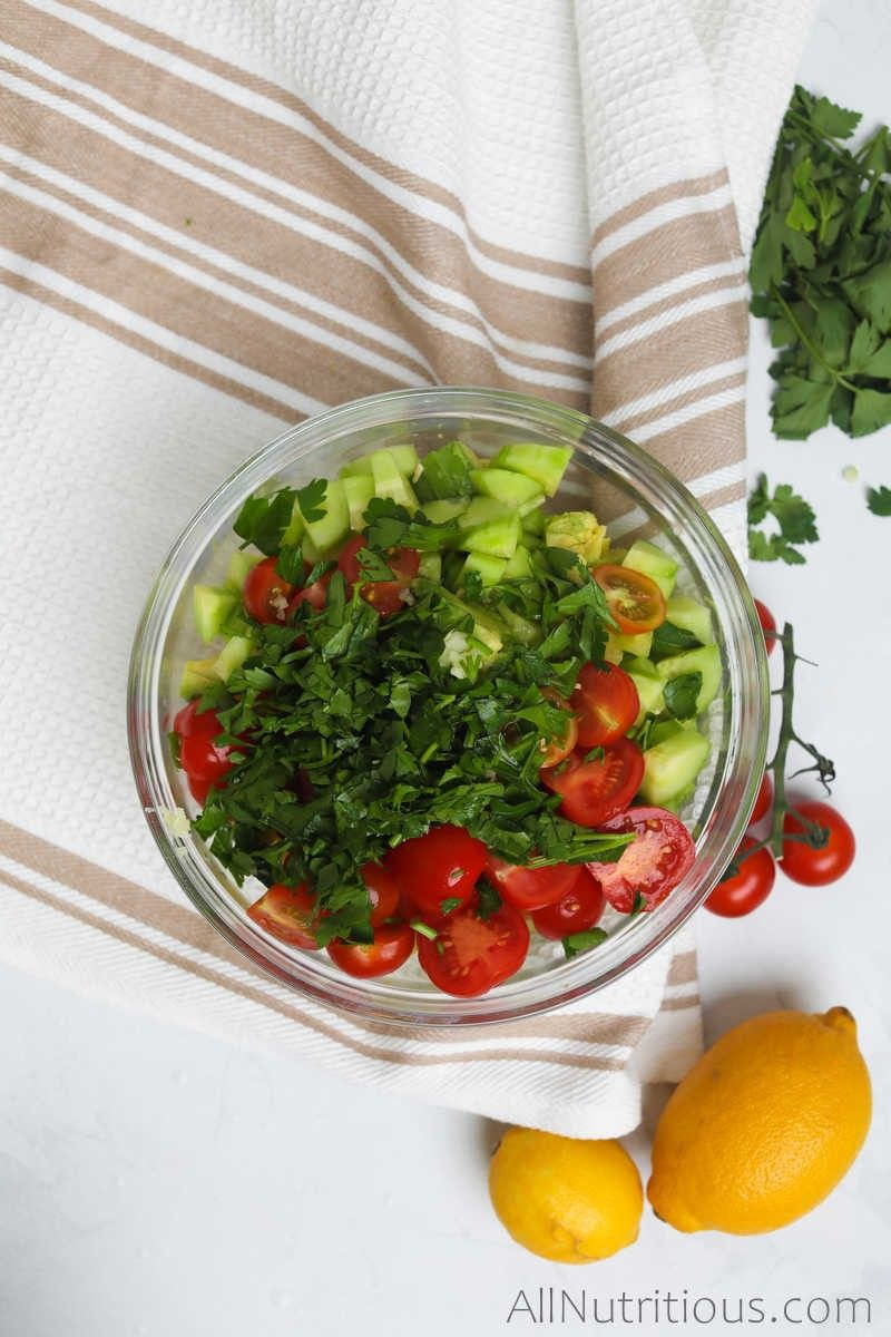 mixed salad ingredients in bowl