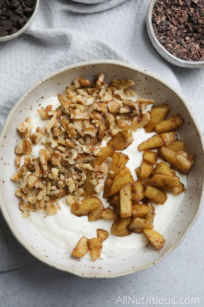 cinnamon apple yogurt bowl