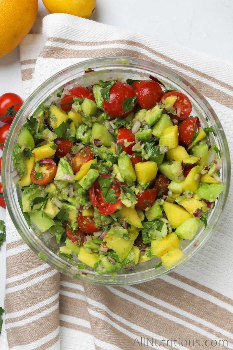 large bowl of mango avocado salad