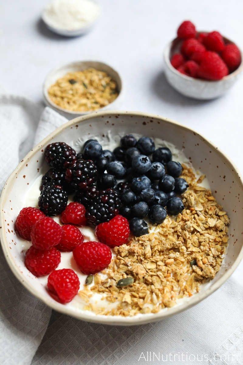 berry and granola yogurt bowl