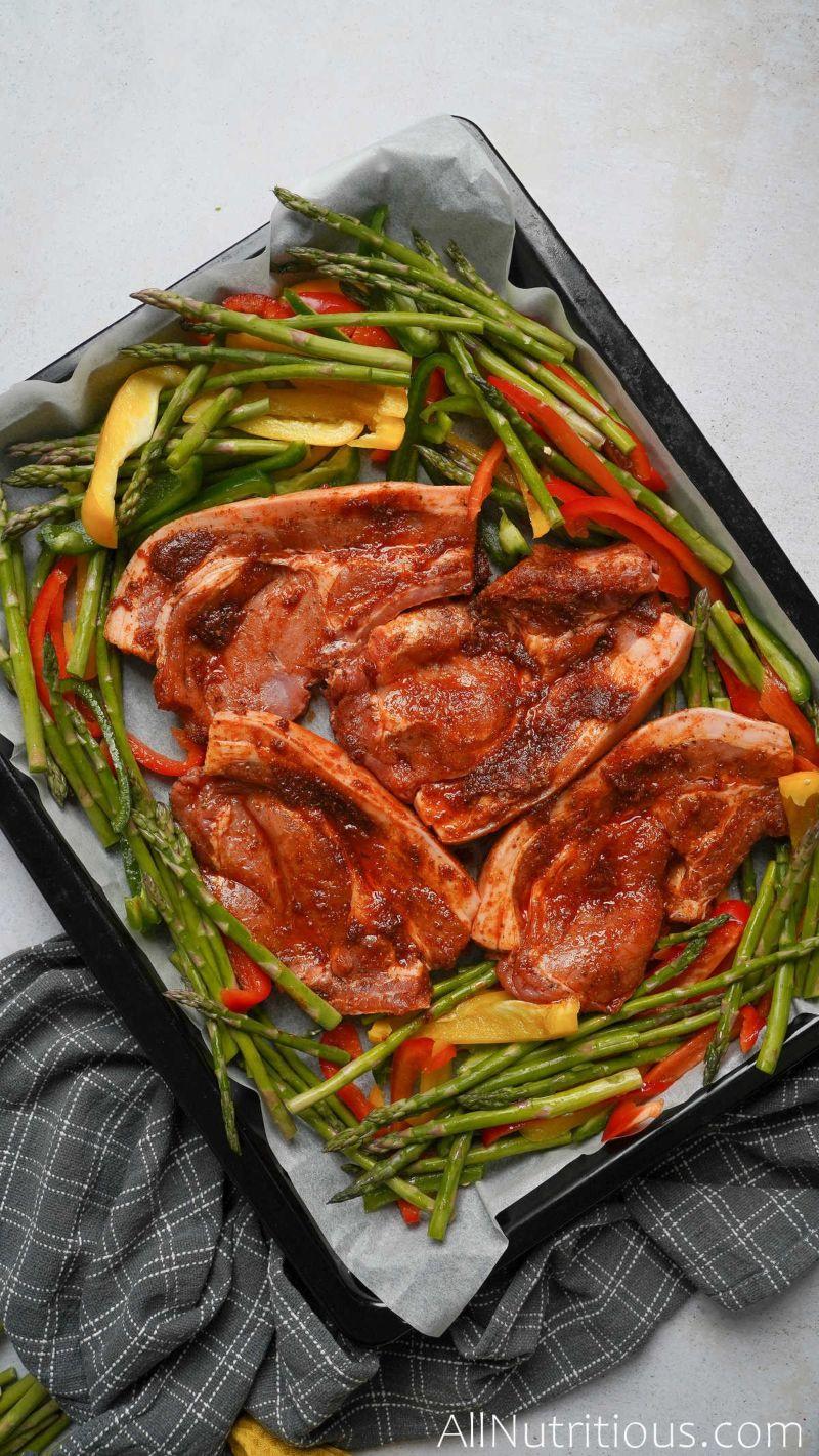 pan of marinated pork and chopped veggies