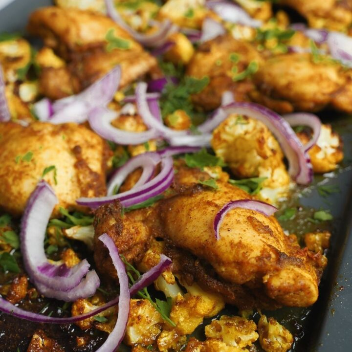 one pan chicken and cauliflower