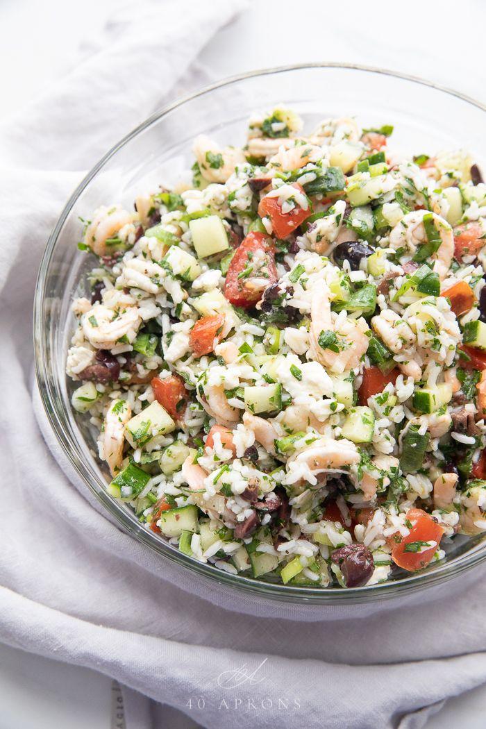 Greek Shrimp Salad with Feta & Rice