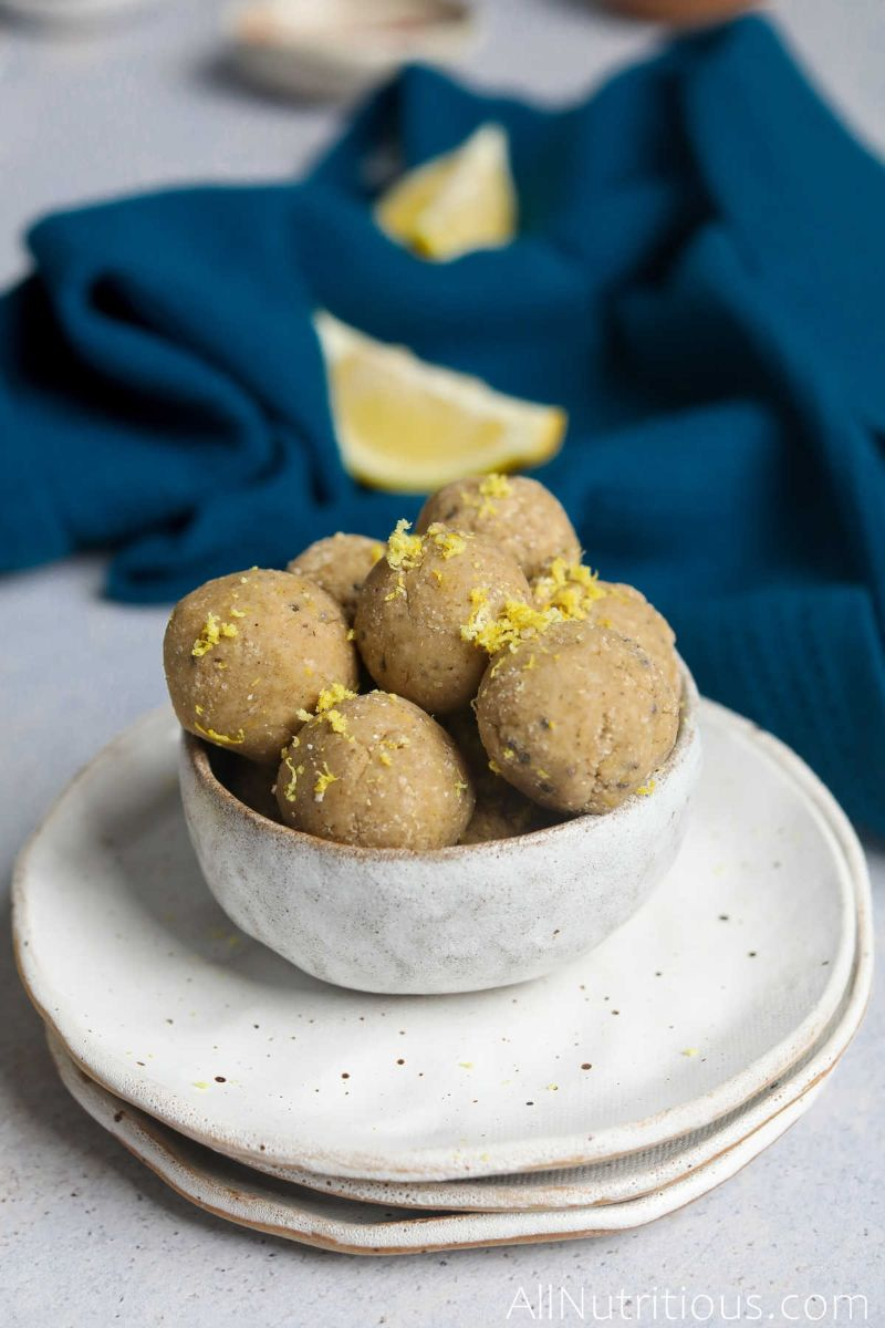 bowl of protein balls with lemon