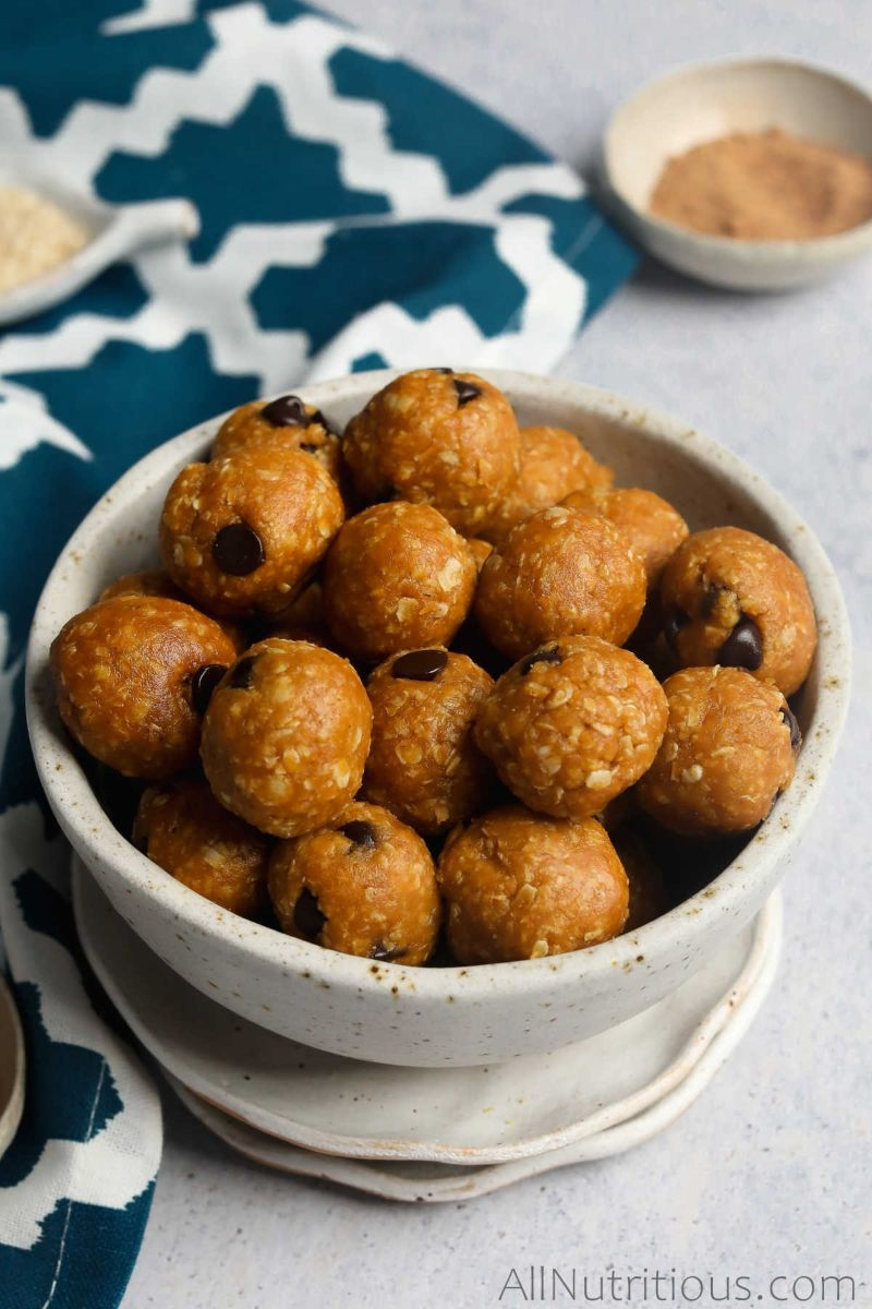 pumpkin protein balls in a bowl