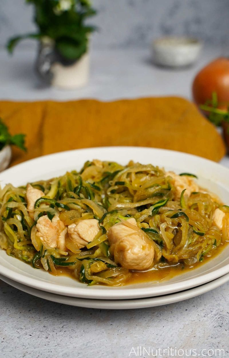 plate of chicken zucchini pasta