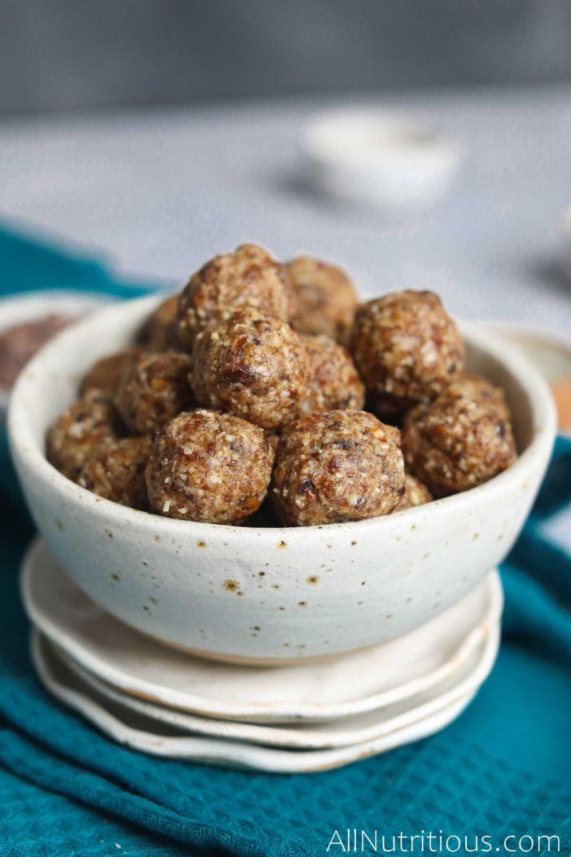 bowl of date balls