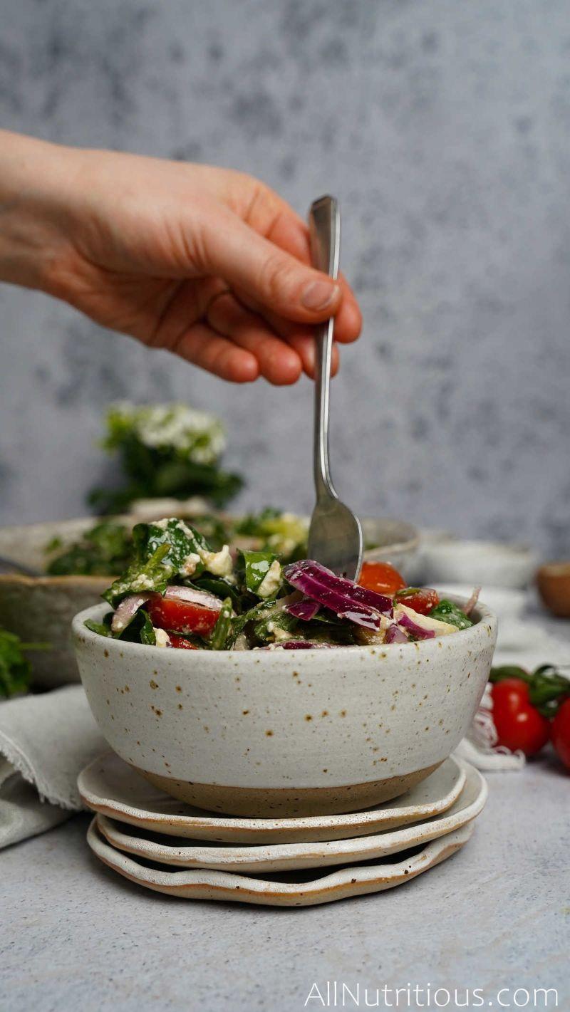 fork in salad bowl