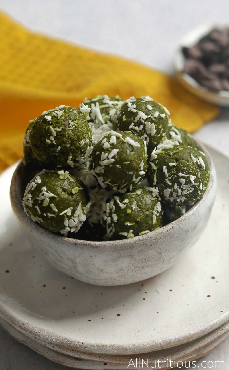 bowl of matcha balls