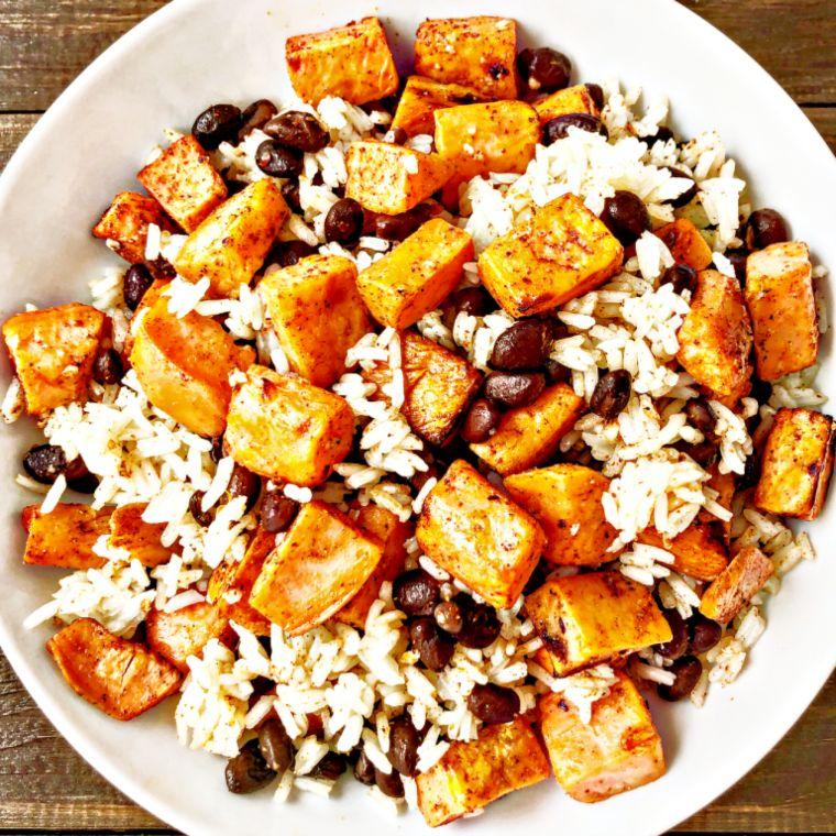 Roasted Sweet Potato, Black Bean & Lime Rice Bowls
