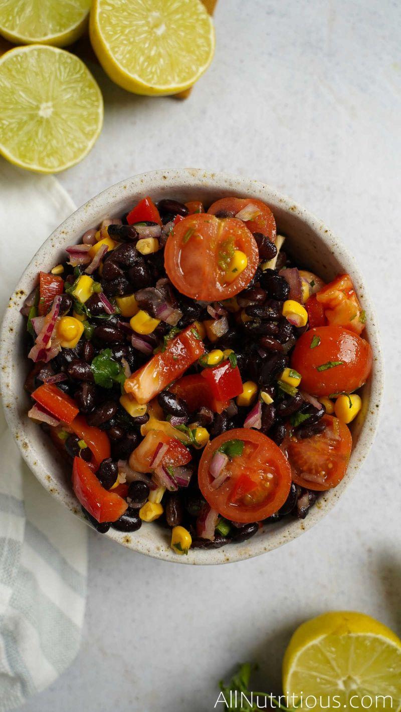 top view of bean salad bowl