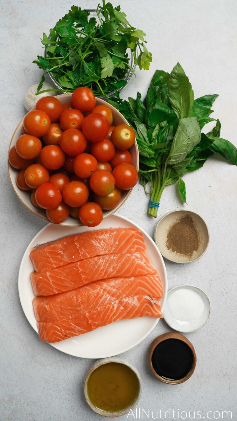ingredients for herb crusted salmon with tomatoes