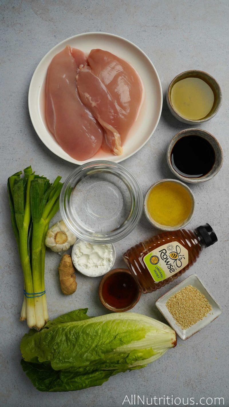 ingredients for teriyaki lettuce wraps