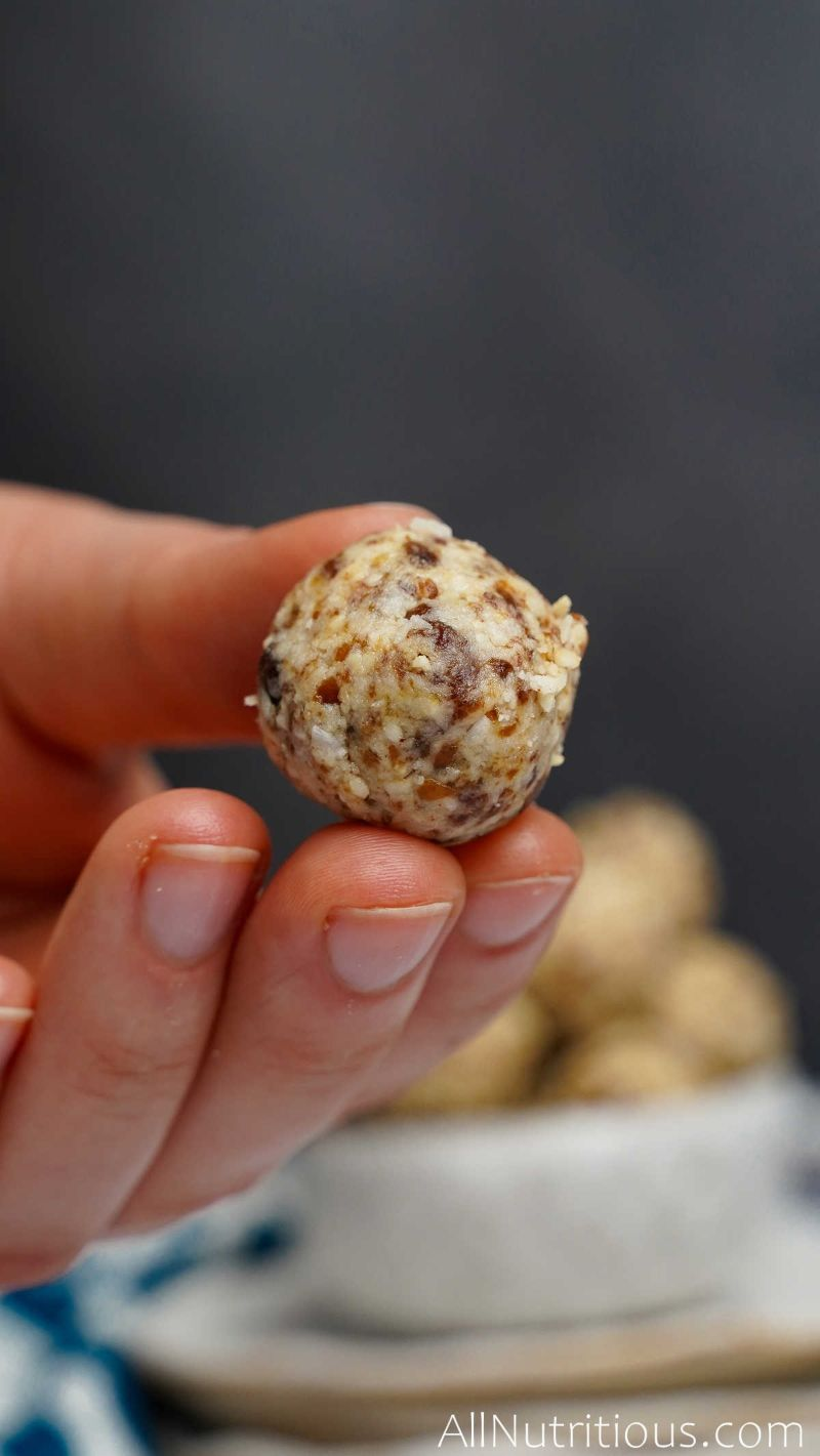 close up of one cashew ball