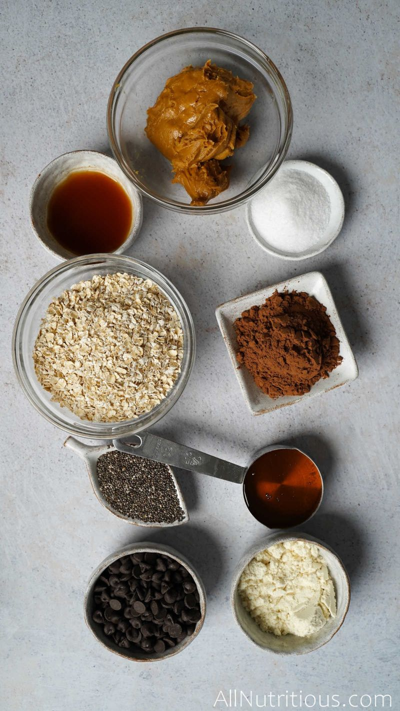 ingredients for protein balls in bowls