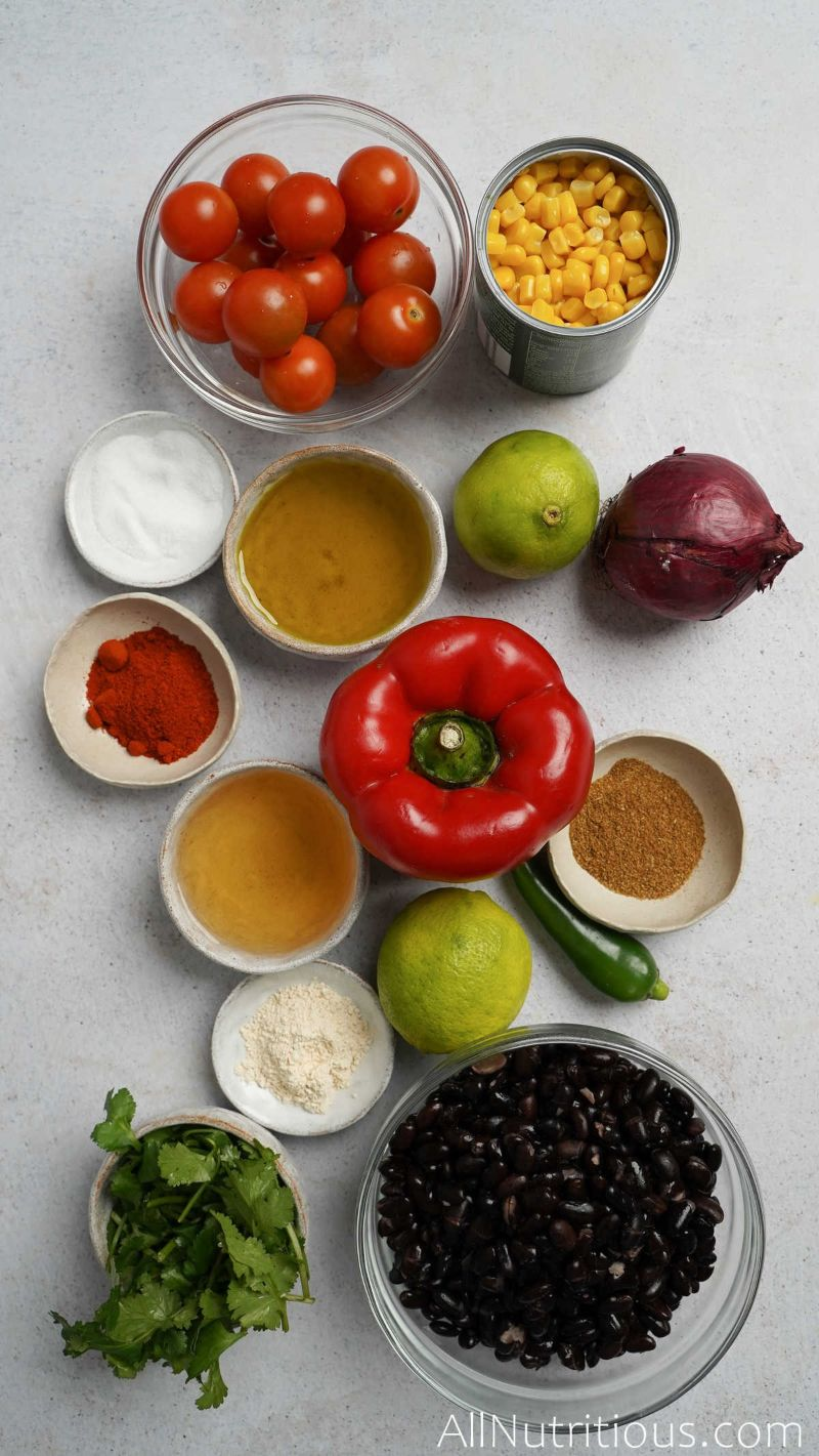 ingredients for mexican bean salad