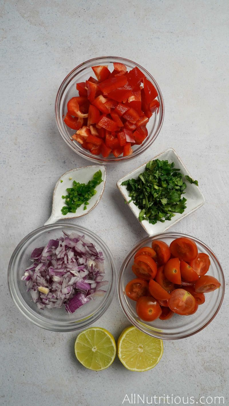 chopped vegetables in small bowls